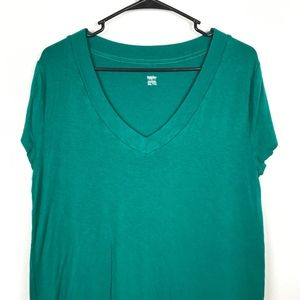 3/$20 Mossimo Solid Green V Neck Short Sleeve Tee